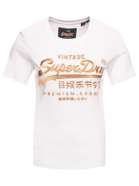 Superdry Superdry T-shirt Premium Goods Luxe Emb Entry Tee W1000067A Blanc Classic Fit