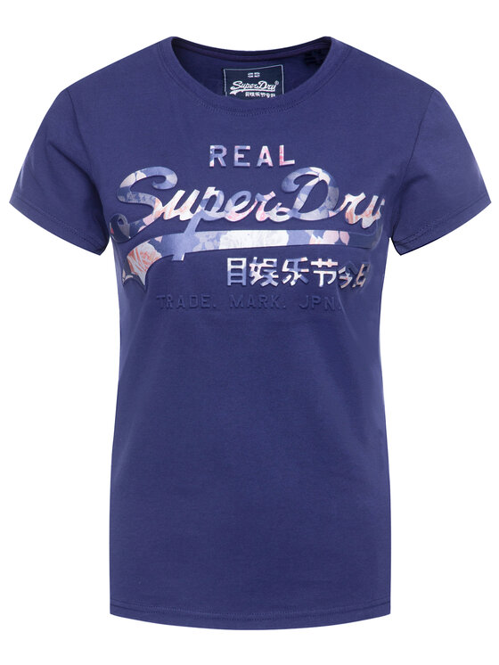 Superdry Superdry Tricou V Logo Photo Rose Infill Entry Tee W1000089A Bleumarin Regular Fit
