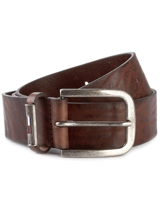 Tommy Jeans Tommy Jeans Мъжки колан Thd Metal Loop Flag Belt 4.0 CM AM0AM02978 100 Кафяв