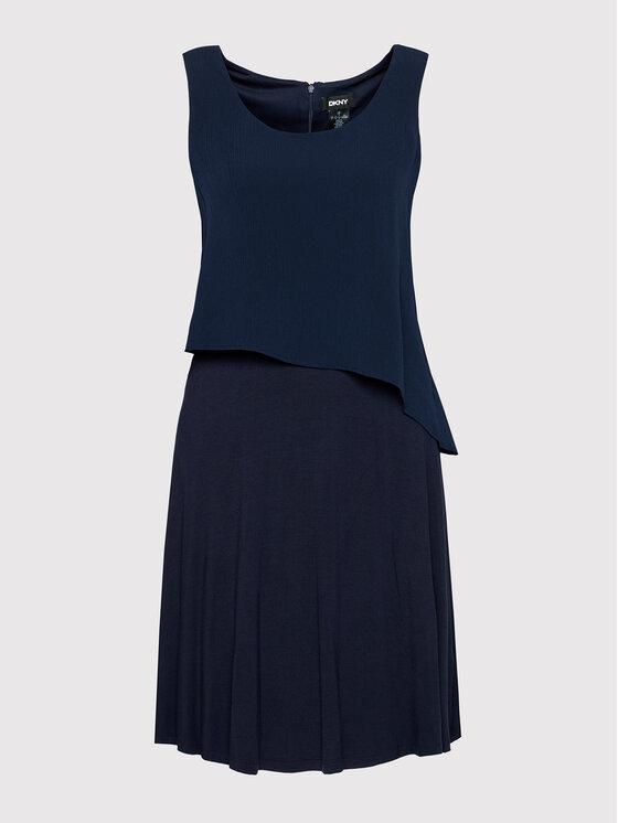 DKNY DKNY Koktel haljina DD1EL806 Tamnoplava Slim Fit