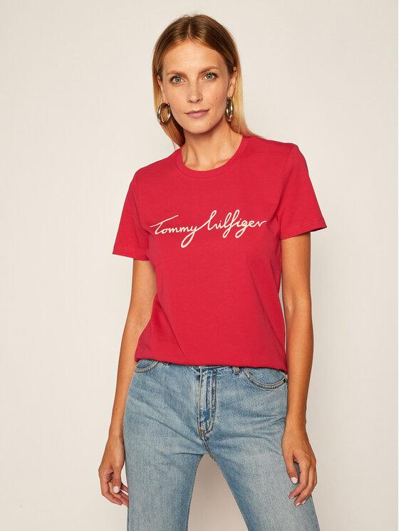 Tommy Hilfiger Tommy Hilfiger T-Shirt Graphic WW0WW28682 Růžová Regular Fit