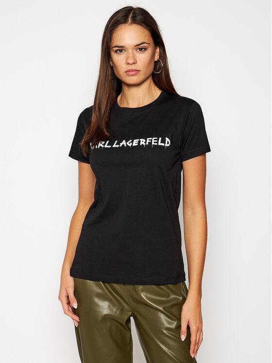 KARL LAGERFELD KARL LAGERFELD T-Shirt Graffiti Logo 206W1701 Czarny Regular Fit