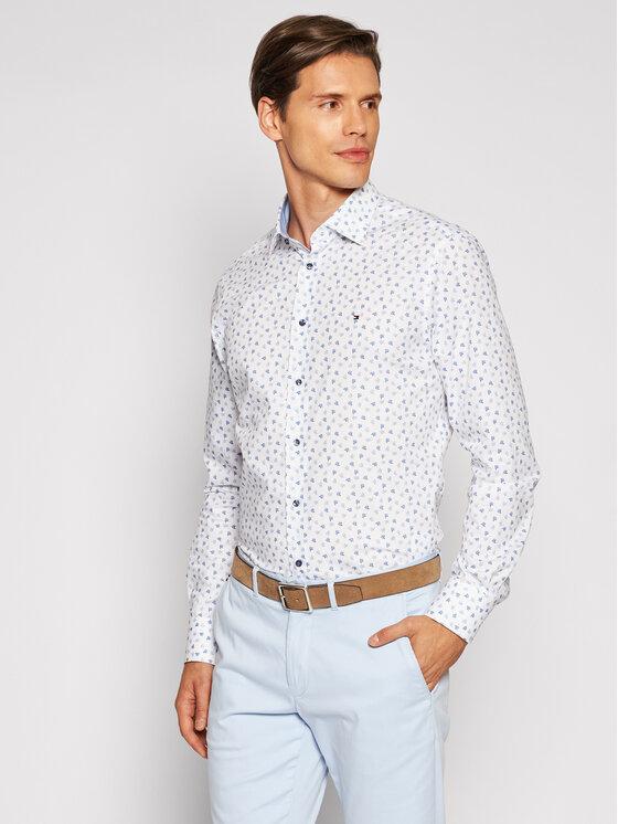 Tommy Hilfiger Tailored Marškiniai Leaf Print MW0MW18982 Balta Regular Fit