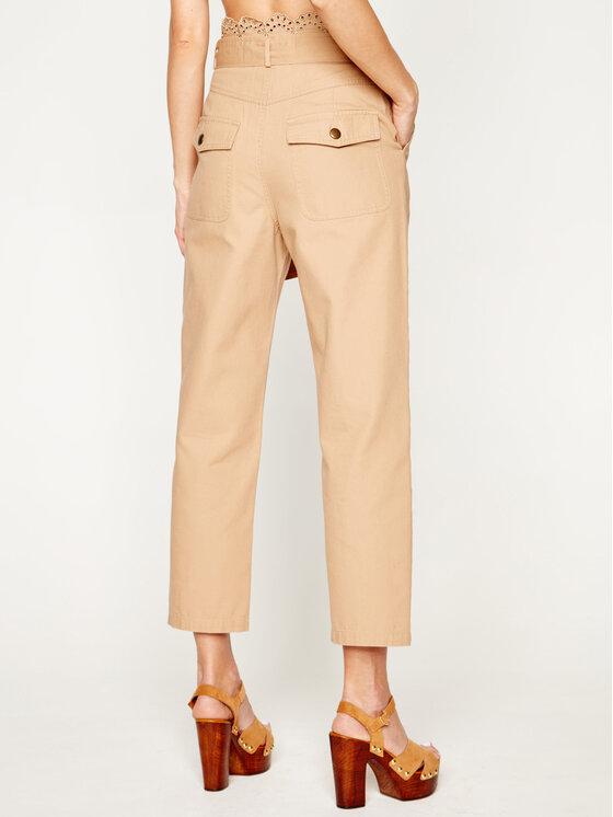 TwinSet TwinSet Текстилни панталони 201TP2015 Бежов Regular Fit