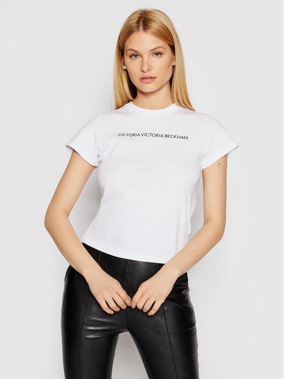 Victoria Victoria Beckham Marškinėliai Logo 2121JTS002433A Balta Slim Fit