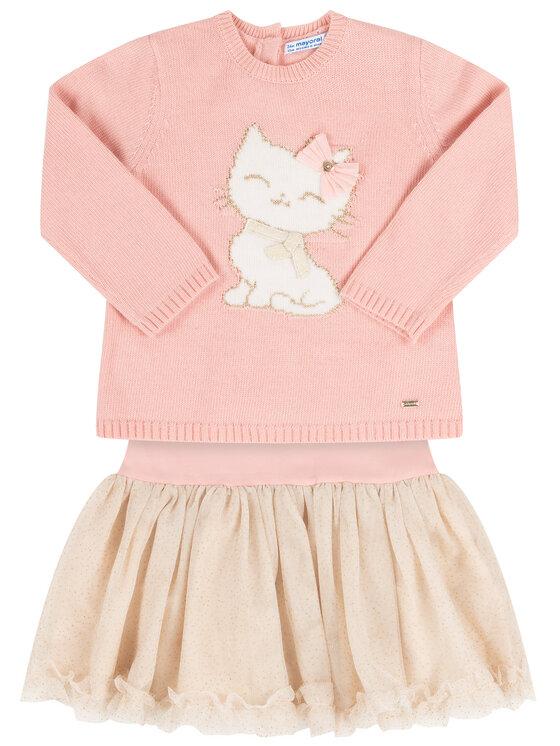 Mayoral Mayoral Комплект пуловер и рокля 2922 Розов Regular Fit
