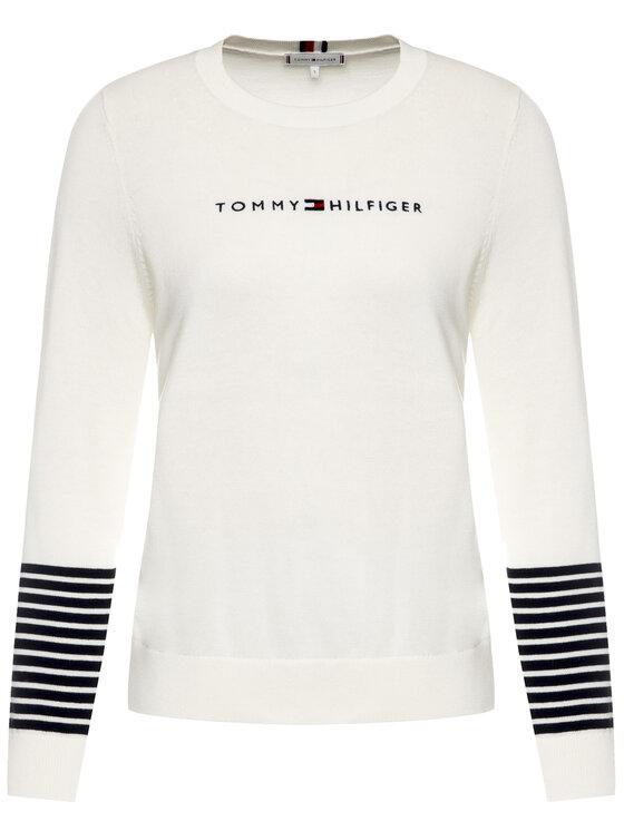 Tommy Hilfiger Tommy Hilfiger Pulover Th Essential WW0WW26551 Alb Regular Fit