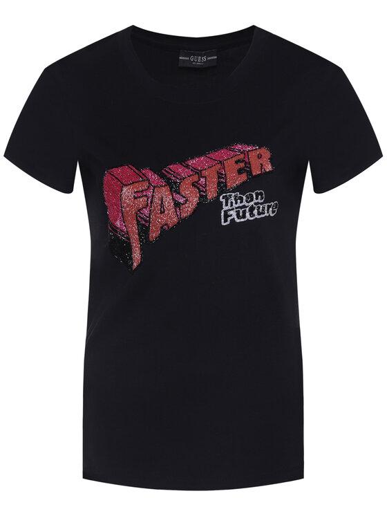 Guess Guess Marškinėliai Faster W0GI0D I3Z00 Juoda Regular Fit