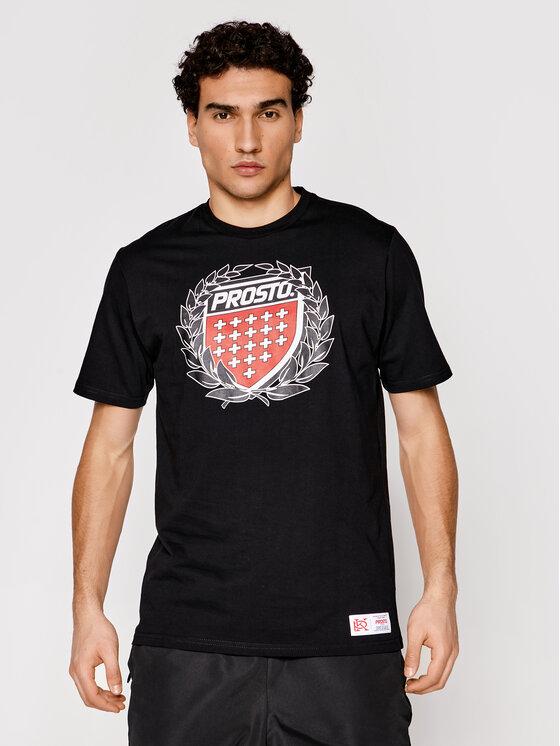 PROSTO. Marškinėliai KLASYK Cesar 1031 Juoda Regular Fit