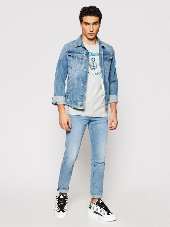 Guess Guess T-Shirt M92I33 J1300 Γκρι Super Slim Fit