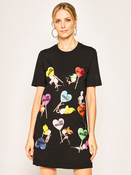 LOVE MOSCHINO LOVE MOSCHINO Ежедневна рокля W5A0215M 3876 Черен Regular Fit
