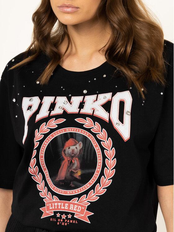 Pinko Pinko Тишърт LUCIA HEFFERNAN Cobalt PE 20 PHEFF 1N12L2 Y68F Черен Regular Fit