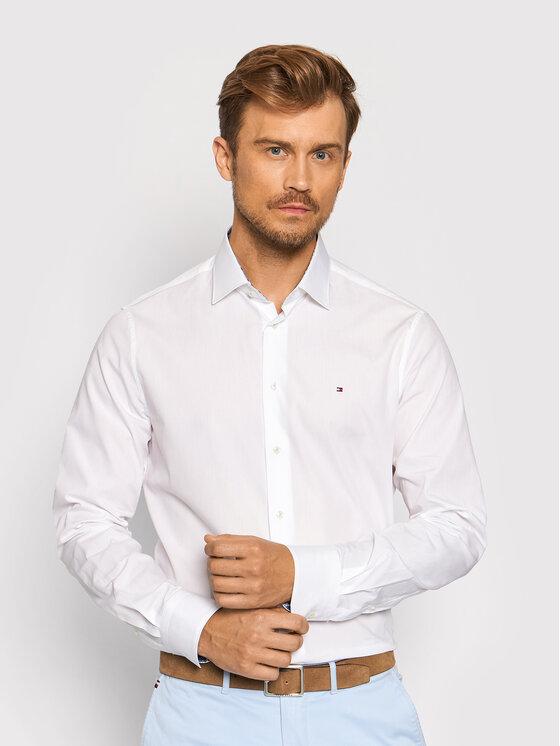 Tommy Hilfiger Tailored Marškiniai Solid Poplin MW0MW19182 Balta Regular Fit