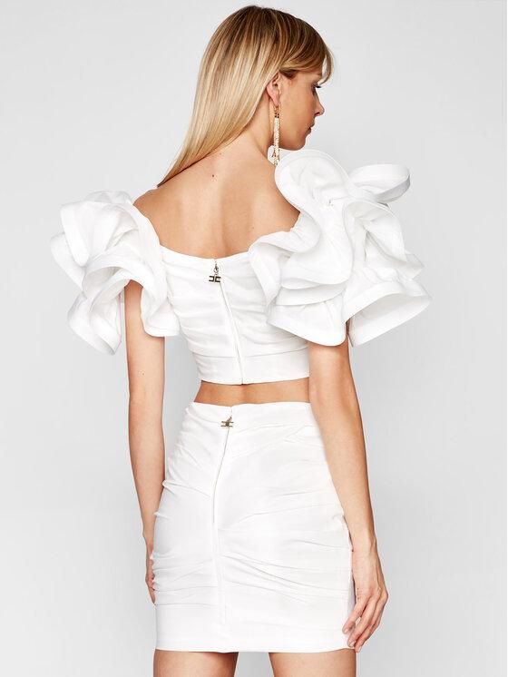 Elisabetta Franchi Elisabetta Franchi Komplet bluzka i spódnica TG-003-11E2-V470 Biały Slim Fit