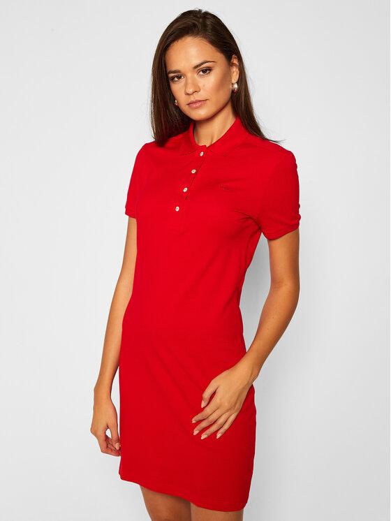 Lacoste Sukienka codzienna EF5473 Czerwony Slim Fit