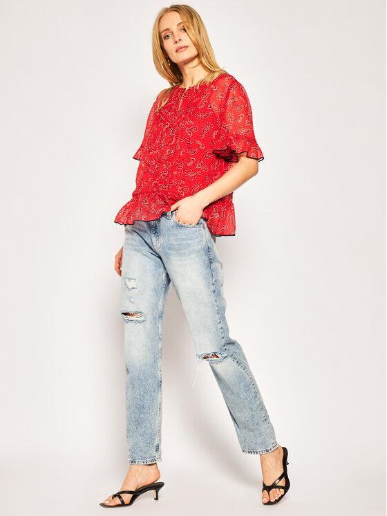 Tommy Jeans Tommy Jeans Bluzka Frill DW0DW07952 Czerwony Regular Fit