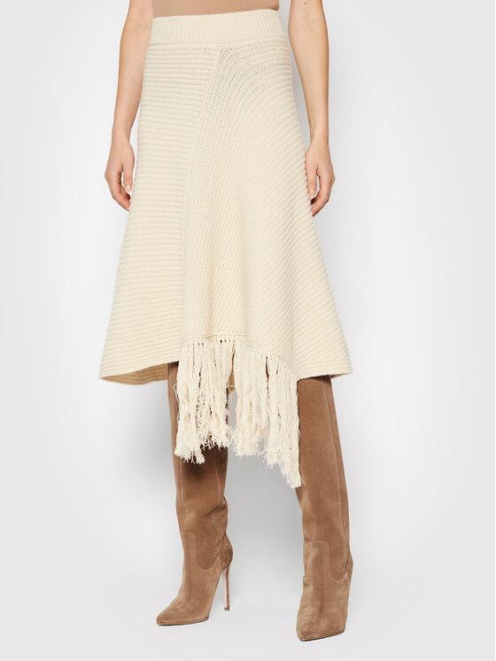 Liviana Conti Trapecijos formos sijonas F1WB86 Smėlio Regular Fit