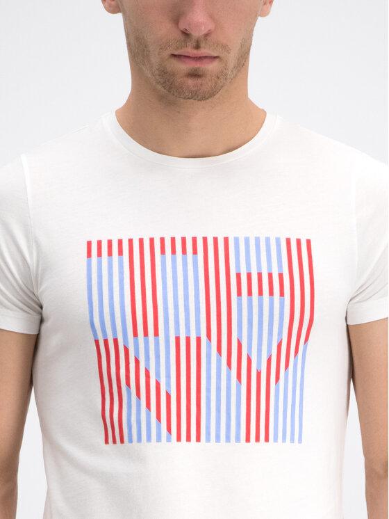 Tommy Hilfiger Tommy Hilfiger Marškinėliai Stripe Logo MW0MW10830 Balta Regular Fit