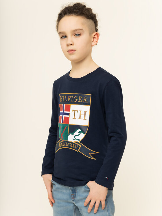 Tommy Hilfiger Tommy Hilfiger Bluzka Embroidered Shield KB0KB05394 D Granatowy Regular Fit
