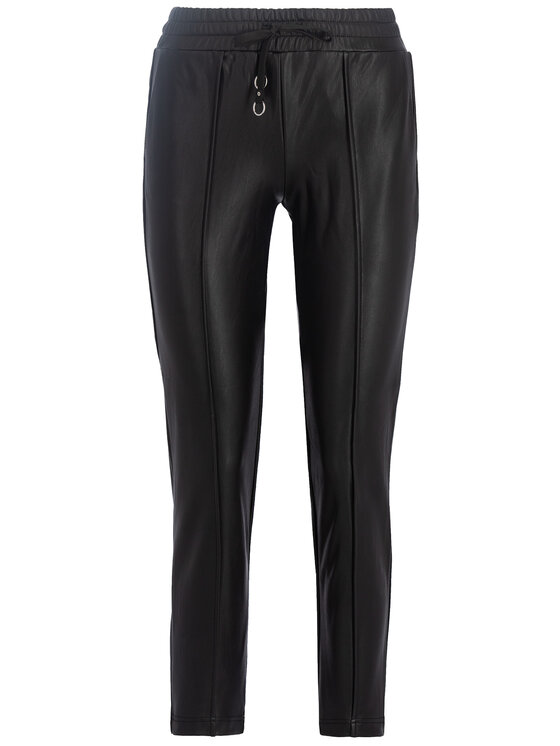 Guess Guess Spodnie skórzane W93B70 WBG60 Czarny Regular Fit