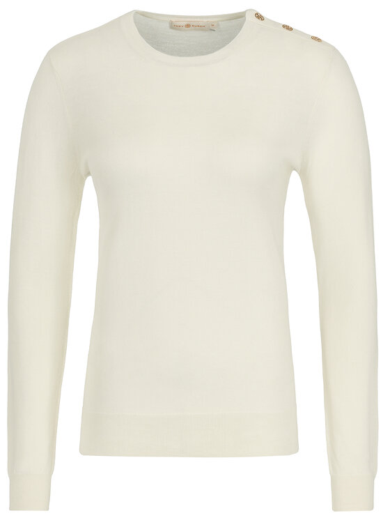 Tory Burch Tory Burch Pull Logo-Button 55292 Blanc Slim Fit