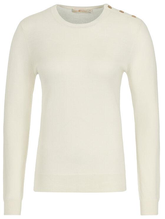 Tory Burch Tory Burch Пуловер Logo-Button 55292 Бял Slim Fit