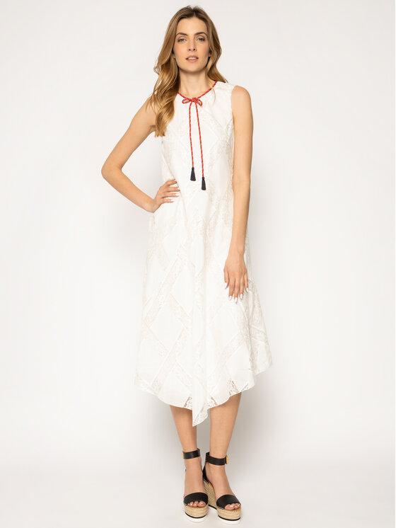 Manila Grace Vasarinė suknelė A044CR Balta Regular Fit