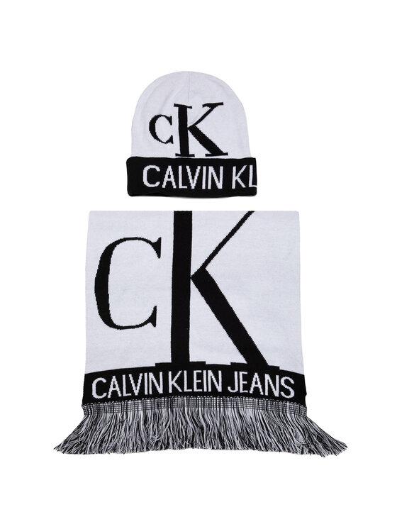 Calvin Klein Jeans Calvin Klein Jeans Zestaw Szalik i Czapka J Mirror Monogram Scarf - Beanie K50K505327 Biały