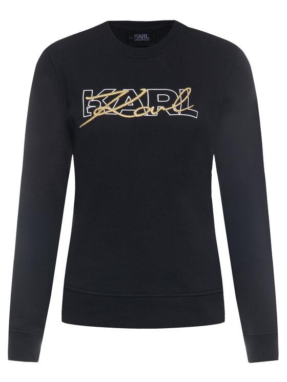 KARL LAGERFELD KARL LAGERFELD Sweater Double Logo 96KW1814 Fekete Regular Fit