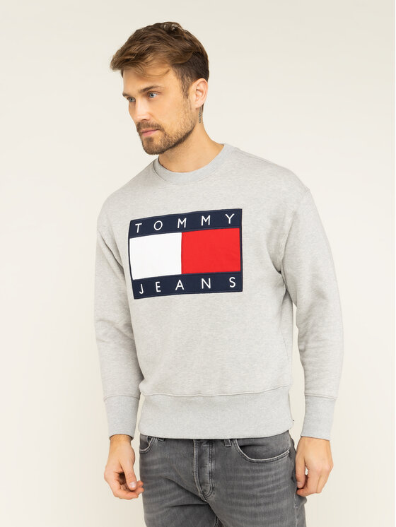 Tommy Jeans Tommy Jeans Mikina TJM Tommy Flag Crew DM0DM07201 Sivá Regular Fit