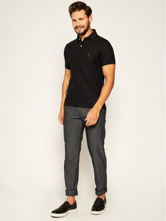 Tommy Hilfiger Tommy Hilfiger Тениска с яка и копчета 867878624 Черен Slim Fit