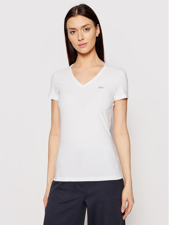Lacoste Lacoste Тишърт TF0999 Бял Slim Fit