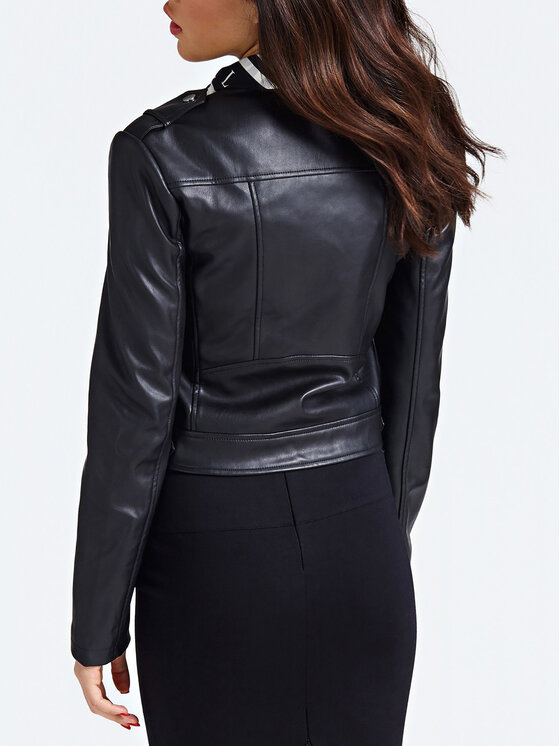 Guess Guess Kožená bunda W93L73 WAEI0 Čierna Regular Fit