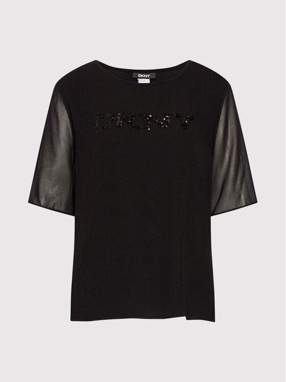 DKNY DKNY Majica P0MHSFGG Crna Regular Fit