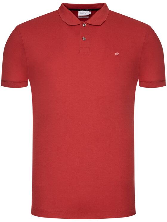 Calvin Klein Calvin Klein Polo marškinėliai Refined Pique Logo K10K102758 Raudona Slim Fit