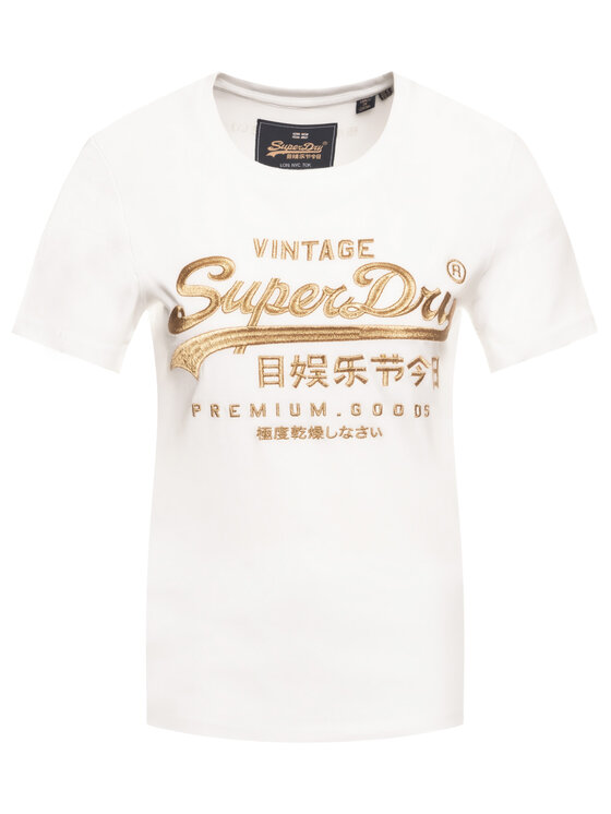 Superdry Superdry Тишърт Premium Goods Luxe Emb Entry Tee W1000067A Бял Classic Fit