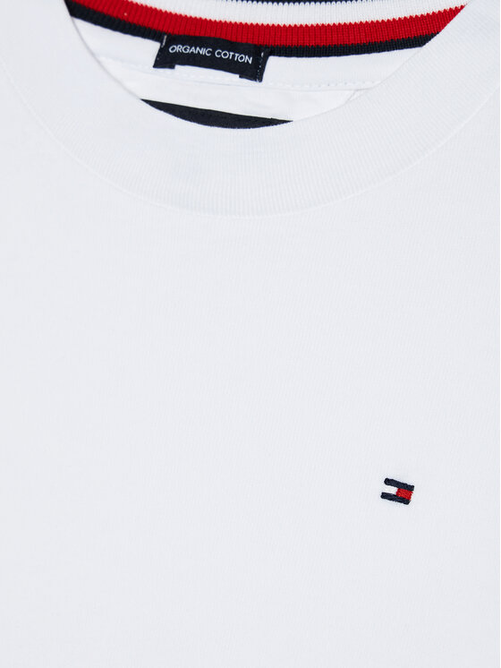 TOMMY HILFIGER TOMMY HILFIGER Bluzka Solid Rib Tee KB0KB06212 M Biały Regular Fit