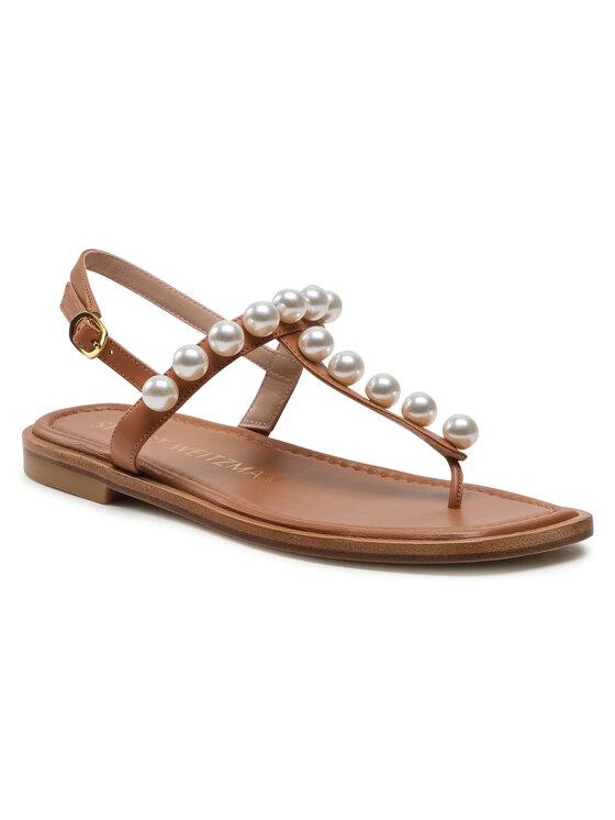 Stuart Weitzman Basutės Goldie T-Strap Sandal S4576 Ruda