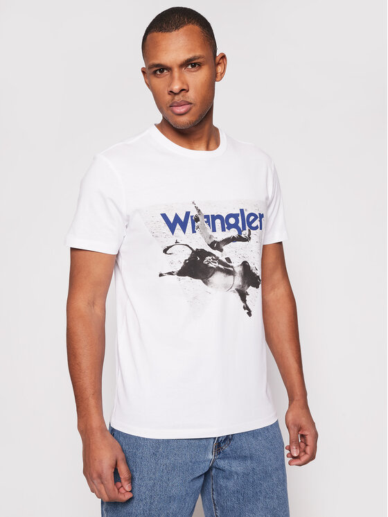 Wrangler T-Shirt Photo W W7G7D3989 Biały Regular Fit