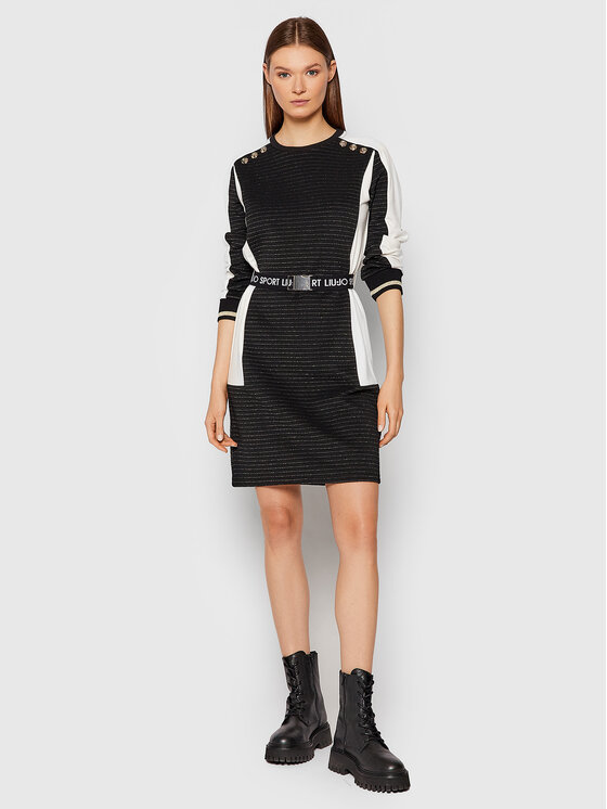 Liu Jo Sport Liu Jo Sport Džemper haljina TF1208 J6239 Crna Regular Fit