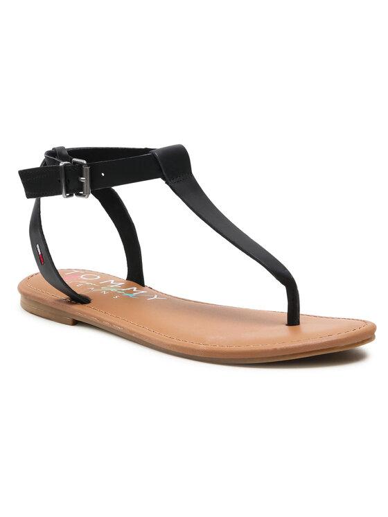 Tommy Jeans Basutės Essential Toe Post Flat Sandal EN0EN01316 Juoda