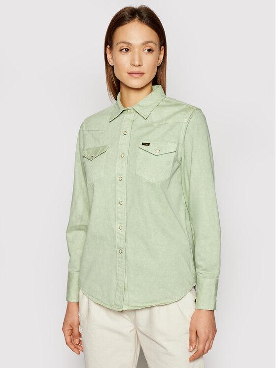 Wrangler Wrangler Koszula jeansowa Western W5WSMP30H Zielony Regular Fit