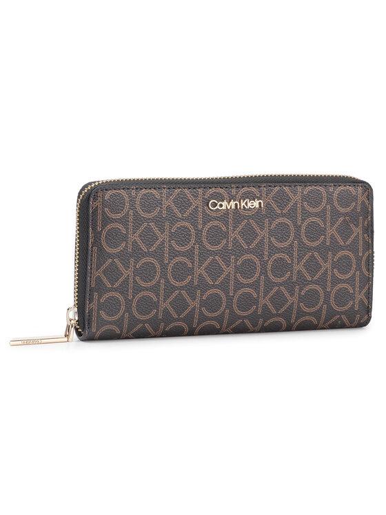 Calvin Klein Calvin Klein Duży Portfel Damski Ck Must Lrg Ziparound Mono K60K605894 Brązowy