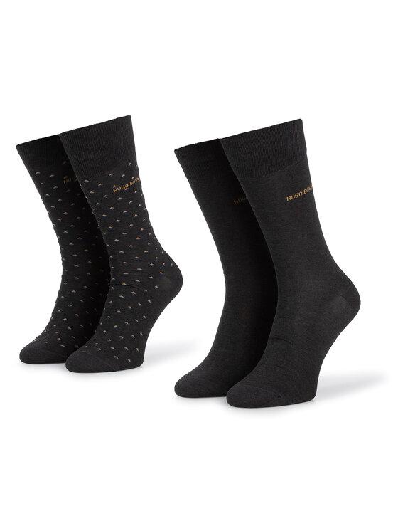 Boss Boss Sada 2 párů pánských vysokých ponožek 2P RS Minipattern MC 50414699 Černá