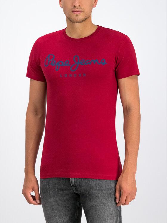 Pepe Jeans Pepe Jeans T-Shirt Original Stretch PM501594 Bordowy Slim Fit