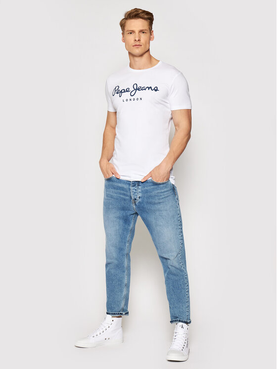 Pepe Jeans Pepe Jeans Tricou Original Stretch PM501594 Alb Slim Fit