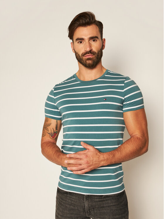 Tommy Hilfiger Tommy Hilfiger T-Shirt MW0MW10800 Zelená Slim Fit