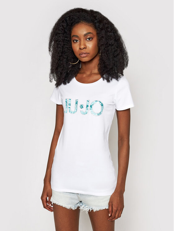 Liu Jo Beachwear Marškinėliai VA1092 J5003 Balta Regular Fit