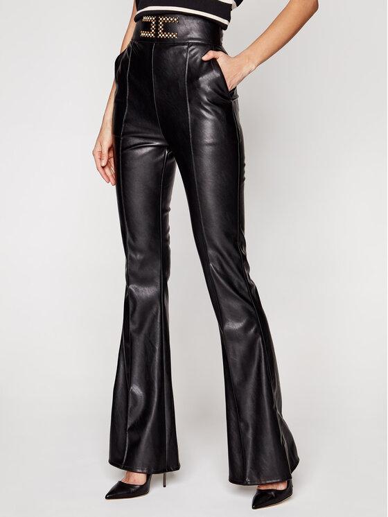 Elisabetta Franchi Dirbtinės odos kelnės PA-374-11E2-V330 Juoda Slim Fit