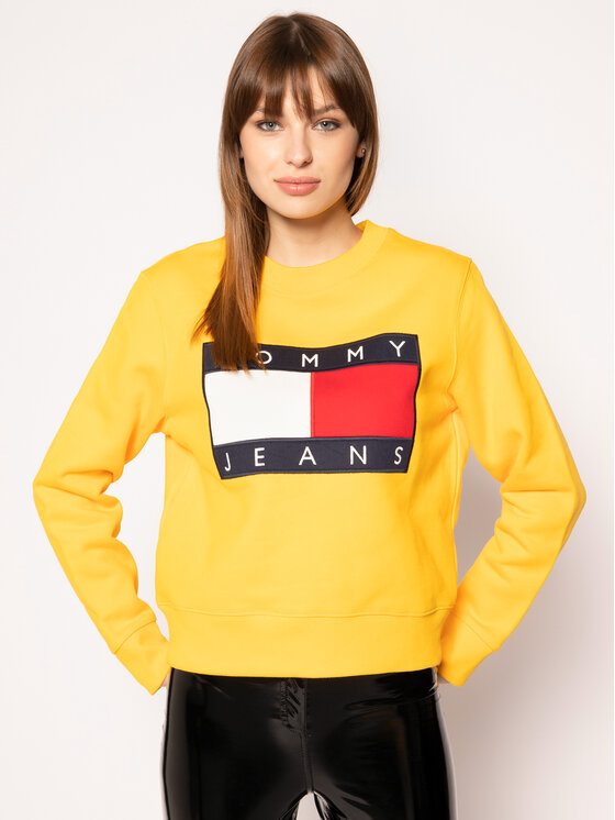 Tommy Jeans Tommy Jeans Sweatshirt Tjw Flag Crew DW0DW07414 Gelb Regular Fit